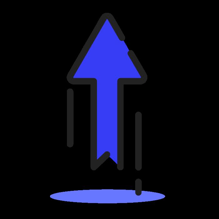 fleche-haut bleu sombre